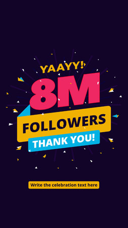 b6f41d1151d 8m followers, one million followers social media post background template. Creative  celebration typography design