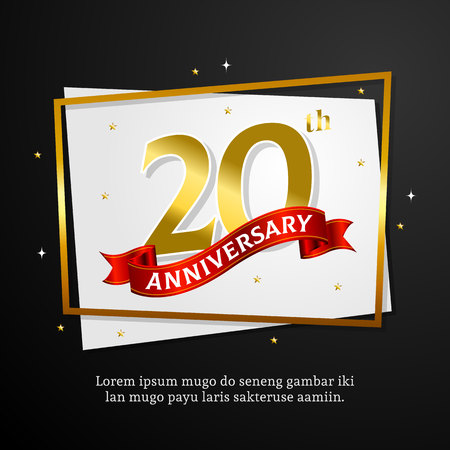 20th anniversary background vector design. number with ribbon and golden frame on paper template.