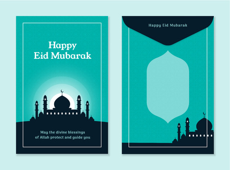 Simple eid al fitr mubarak money template design with mosque silhouette background. Front and back side islam holiday celebration vector illustration