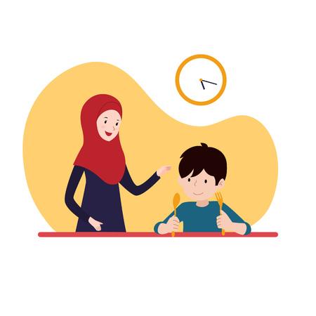 jongen die wacht op iftar-tijd breekt vasten met zijn moeder die hijab draagt. familie ramadan activiteit illustratie vector conceptontwerp.