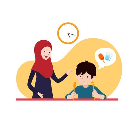 madre musulmana ayuda a su hijo hambriento a esperar el tiempo de iftar para romper el ayuno. diseño de vector de concepto de ilustración de actividad de Ramadán familiar. Ilustración de vector