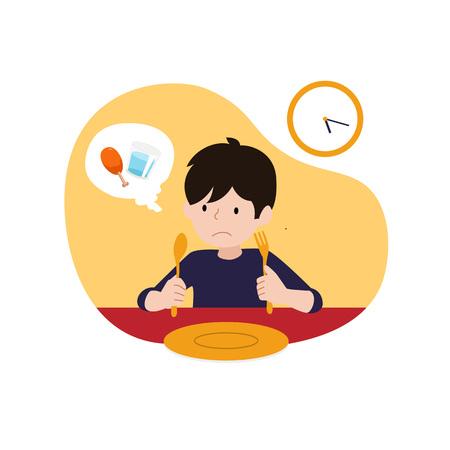 un niño hambriento esperando el tiempo de iftar o romper la ilustración de vector de ayuno. diseño de concepto de actividad de Ramadán para niños.
