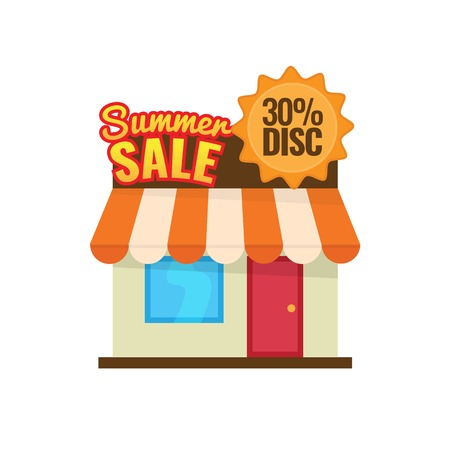 Summer sale 30% discount. seasonal store icon vector illustration