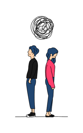 couple think complicated relationship problem doodle color drawing vector illustration. man and girl stand back to back with big tangled messy scribble line.