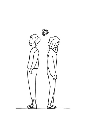 couple confused thinking about their relationship problem doodle drawing vector illustration. boy and girl stand back to back with small tangled messy scribble line ball symbol.