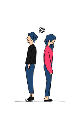 couple confused thinking about their relationship problem doodle color drawing vector illustration. boy and girl stand back to back with small tangled messy scribble line ball symbol. Illustration