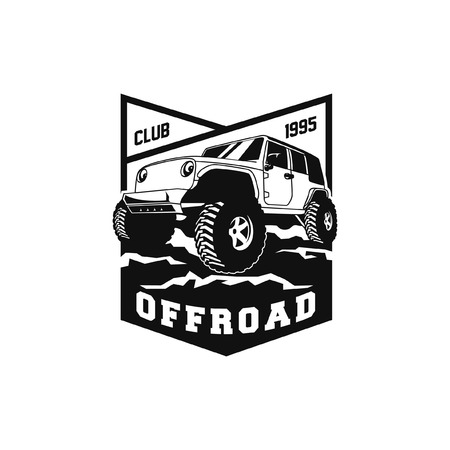 off road adventure car logo badge vector design. 4x4 vehicle run over the forest ground illustration for extreme expedition community club identity