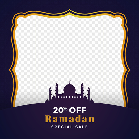20% off ramadan special sale background template design with transparent space for image place holder. great mosque silhouette ornament vector illustration