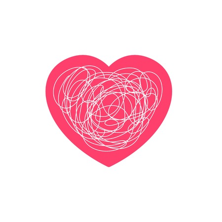 Complicated love feeling illustration. Heart symbol with tangled messy scribble line doodle Illustration