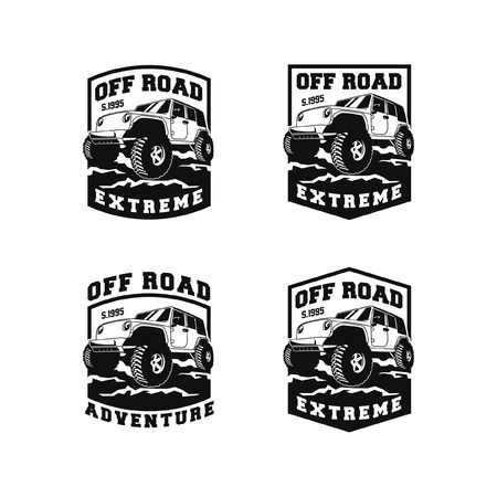 set of off road adventure car logo badge vector design collection. 4x4 vehicle run over the forest ground illustration for extreme expedition community club identity Illusztráció