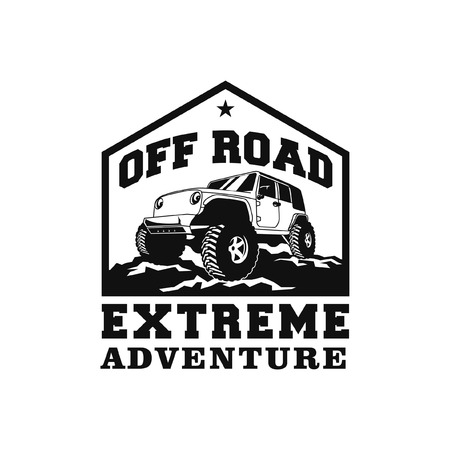 off road extreme adventure car logo badge vector design. 4x4 vehicle illustration for expedition community club identity.