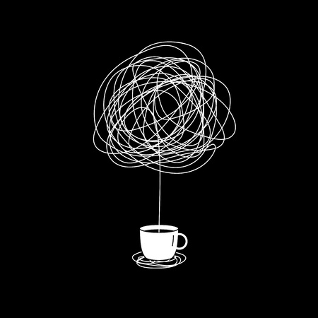 no creativity complicated inspiration after drinking coffee illustration. a cup with messy line come out symbol. tangled scribble doodle vector path design.