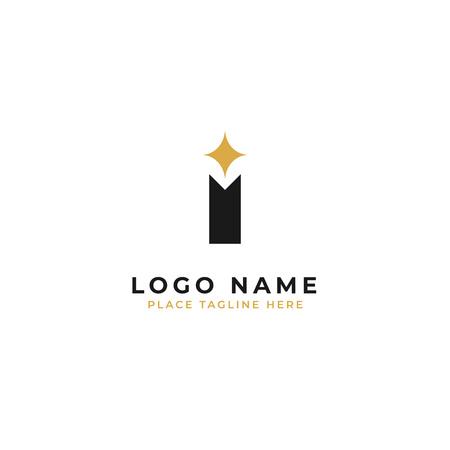 Letter I logo template design. pole with sparkle star symbol vector illustration.