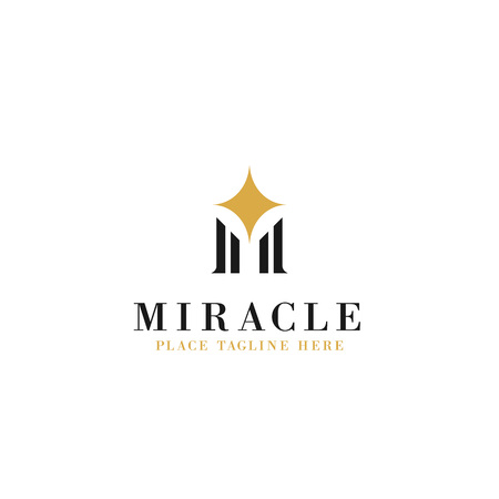 letter m initial with sparkle star illustration for miracle concept logo template vector design