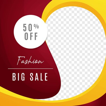 Fashion big sale multipurpose social media post background template. discount promotion web banner with transparent space vector design. Ilustracja