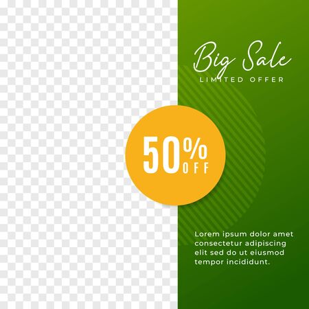Big sale multipurpose social media post minimal background template. Discount promotion square web banner with transparent space vector design. Ilustracja