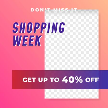 Shopping week multipurpose social media post background template. fashion discount promotion square web banner vector design.