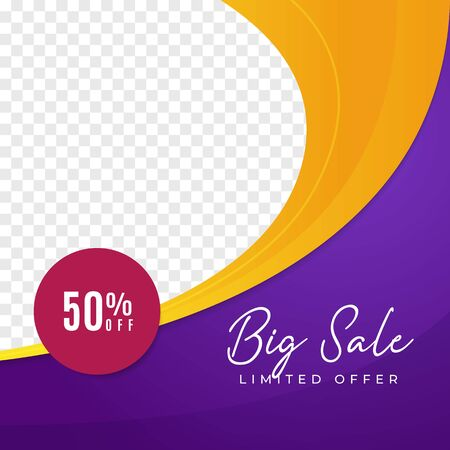 Big sale multipurpose social media post background template. fashion discount promotion square web banner with transparent space vector design.