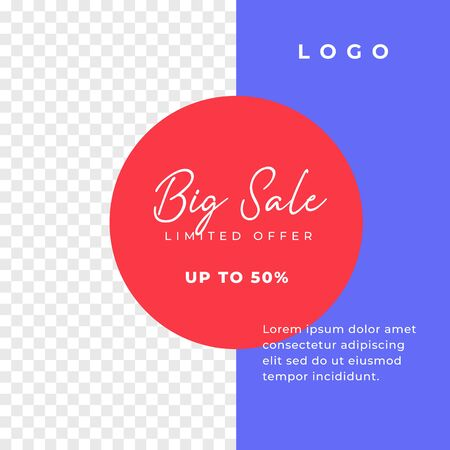 Big sale simple multipurpose social media post background template. minimal discount promotion square web banner with transparent space vector design.