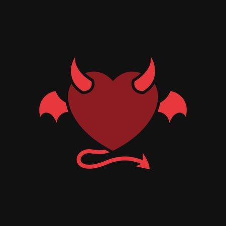 devil love with demon wing tattoo vector design. heart icon with horn and tail illustration. simple graphic for evil relationship concept design. Ilustração
