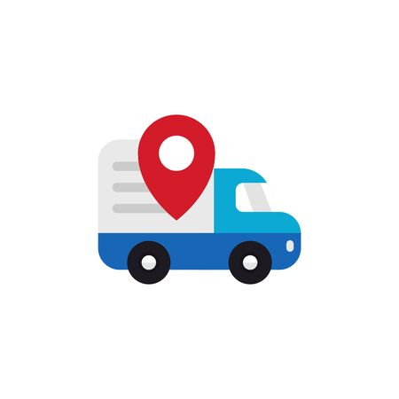Shipping truck tracking icon design. Moving car with map pin locator illustration for courier delivery tracker symbol
