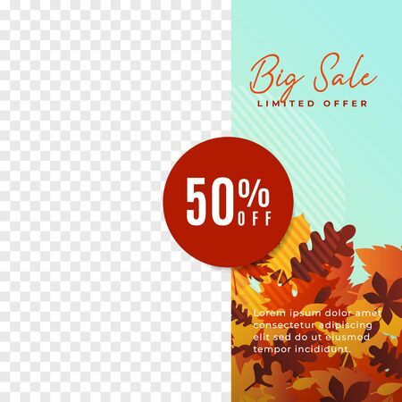 Autumn big sale social media promotion poster vector template. Modern minimalist banner design with autumn leaves illustration background and transparent box space for product photography.