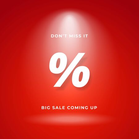 Big sale coming up concept for warning poster background. Red backdrop with bright spotlight and percent sign for discount symbol vector illustration.