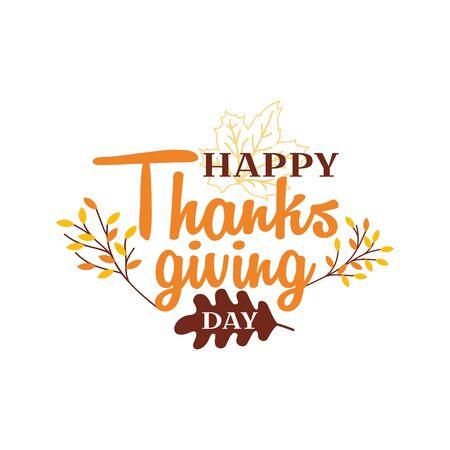 Happy thanksgiving day text logo badge design. Typography with autumn fall twigs vector illustration. Ilustração