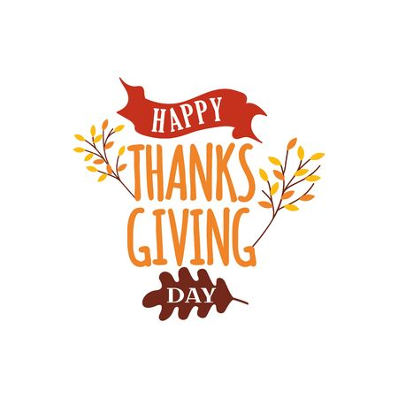 Happy thanksgiving day text vector with autumn fall tree illustration. Logo, badge sticker, label, card, banner, poster vector design.