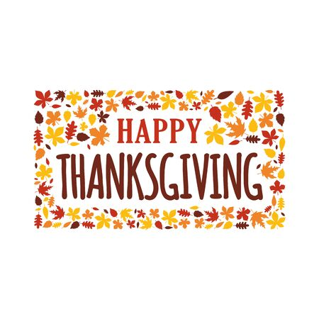 Happy thanksgiving day typography with full of autumn fall leaves ornament decoration. Sticker, logo, badge, poster, banner, card vector illustration design. Çizim