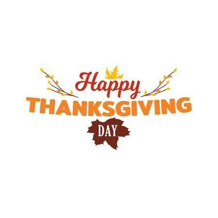 Simple happy thanksgiving day typography vector design with autumn fall twigs illustration.