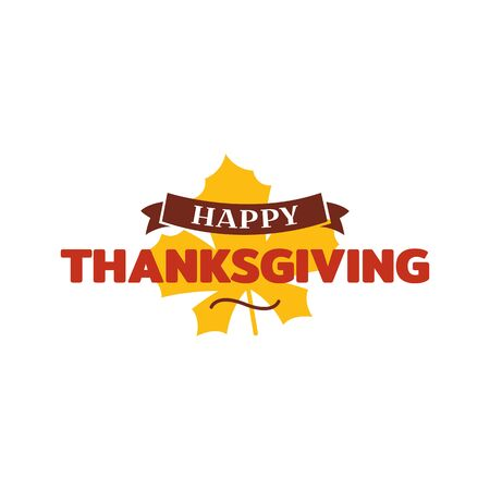Happy thanksgiving text with dried leave background. Autumn fall typography design. Illustration