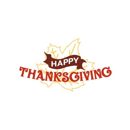 Happy thanksgiving text with dried leave background. Autumn fall typography design. Çizim