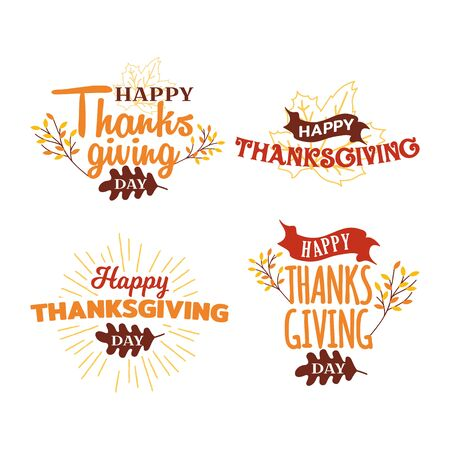 Set of happy thanksgiving day typography with autumn fall twigs tree illustration. Logo, badge, sticker, banner, card vector design.