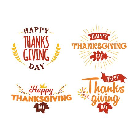 Set of happy thanksgiving day text with autumn fall twigs tree illustration. Logo, badge, sticker, banner, icon, card vector design. Çizim
