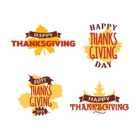 Set of happy thanksgiving day typography text with dried leave background. Autumn fall concept design. Logo, badge, sticker, icon, banner vector graphic. Çizim