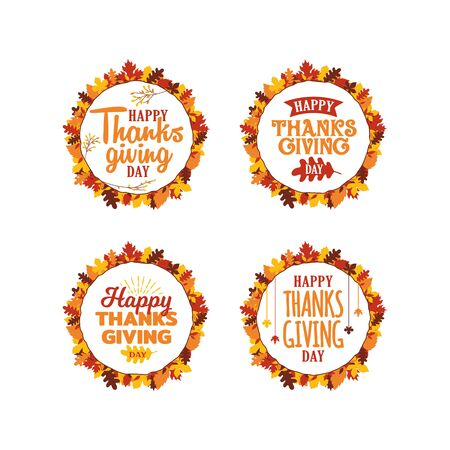 Set of happy thanksgiving typography text with autumn fall leaves frame ornament. Logo, icon, banner, badge, sticker vector design. Çizim