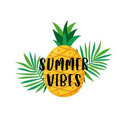 Summer vibes typography text poster with pineapple fruit and tropical plant leaves background vector illustration. Çizim