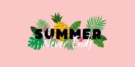 Summer Never Ends typography text banner poster with pineapple fruit and tropical plant leaves background vector illustration. Çizim