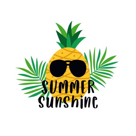summer sunshine typography text poster with pineapple wearing sun glasses and tropical plant background vector illustration. Çizim
