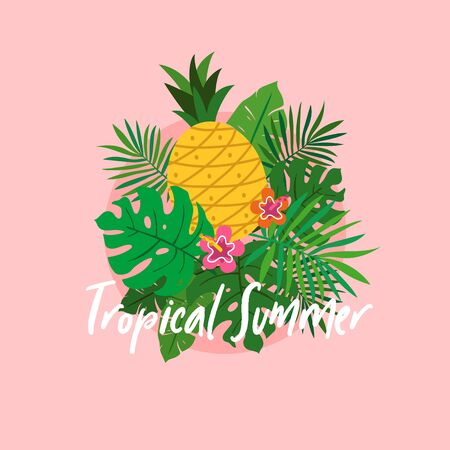 Set of tropical plant leaves with pineapple and flower for tropical summer poster concept vector illustration Çizim