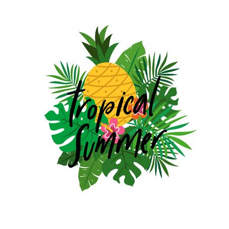 tropical summer vector illustration with tropical plant leaves and flower poster background design. Çizim