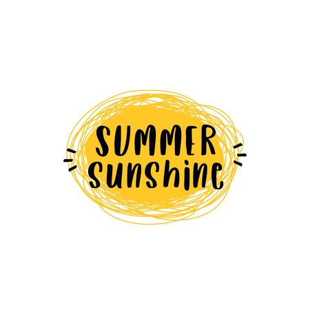Summer sunshine quote text poster with doodle art sun background simple vector illustration. Çizim