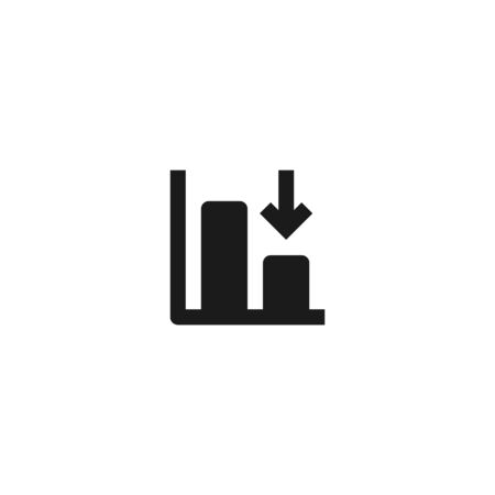 down trend degenerate bar chart icon design with falling down arrow symbol. simple clean professional business management concept vector illustration design. 向量圖像