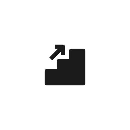 business rises up step by step icon design. stairs with growing up arrow symbol. simple clean professional business management concept vector illustration design. Çizim