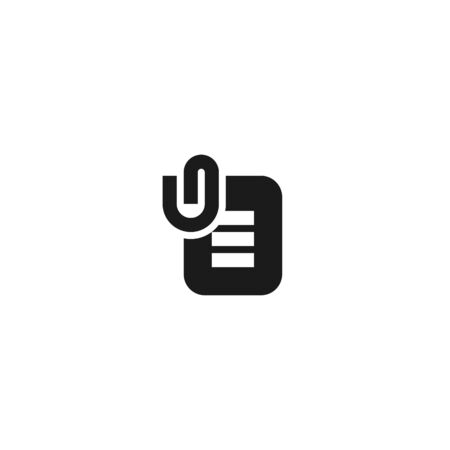 clipped document paper icon design for important job task symbol. simple clean professional business management concept vector illustration design. Çizim