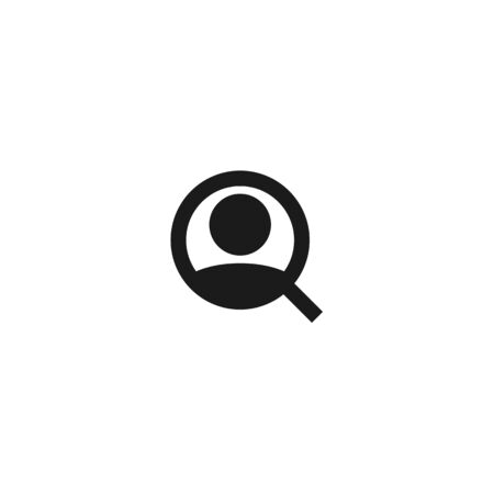 job vacancy looking new worker icon design. employee with magnifying glass for hiring symbol. simple clean professional business management concept vector illustration design.