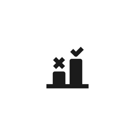 good step selection icon design. two bar chart with cross and check mark symbol. simple clean professional business management concept vector illustration design.