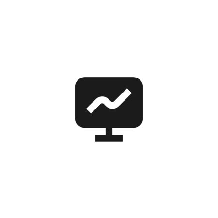 growth presentation icon design. monitor screen with growing line graph symbol. simple clean professional business management concept vector illustration design.