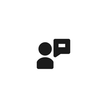 employee opinion icon design. person with bubble text box symbol for communication concept. simple clean professional business management vector illustration design.